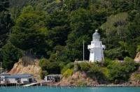 The historic Akaroa Harbour Lighthouse stands in its new location in Banks Peninsula on the South Island of New Zealand.