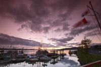 Sunset over the Prince Ruppert Harbor, the getaway to Alaska's Inside Passage, British Columbia, Canada.