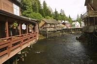 The historic boardwalk area of Creek Street in Ketchikan is a popular tourist attraction during cruise ship vacations in Alaska.