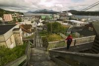 Tourist Overlooking Ketchikan Alaska