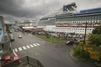 A cruise ship at the Ketchikan terminal in Alaska, USA