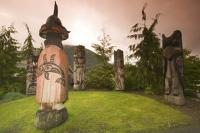 This circle of Native American Totem Poles were situated at the entrance to the West Coast Cape Fox Lodge in Ketchikan a cruise ship destination in Alaska.
