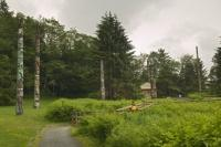 These Totem Poles in Totem Bight State Historical Park in Ketchikan Alaska is on the site of an old fishing camp.