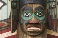 Detail of a beautifully carved totem pole in Totem Bight State Park in Ketchikan, Alaska.