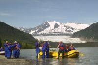 One of the juneau alaska adventure activities is white water rafting, leaving from mendenhall glacier