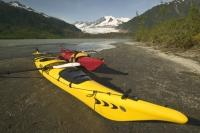 Stock Photo of a kayak at mendenhall glacier in Alaska