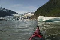 A kayaking tour on the Mendenhall Lake in Juneau, Alaska will bring you to the glacier and a beautiful roaring waterfall.