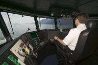 The captain at the helm of the M/V Fairweather ferry service between Juneau and Haines, Alaska.