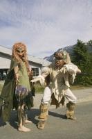 Chilkat Dancers strike a pose for the photographer at the MV Fairweather presentation in Haines, Alaska.