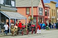 In cruise ship season the tourism in Skagway Alaska can be a very overwhelming at time.
