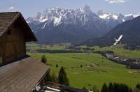 An Alpine house is a normal type of home around the town of Toblach in Italy, Europe.
