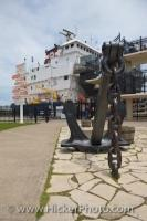 A large statue of an anchor is on display at Lock 3 at the St Catharines Museum at the Welland Canals Centre in Ontario, Canada.