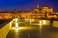 The famous and longest surviving bridge from ancient times leads over the Rio Guadalquivir towards the Mezquita in Cordoba, Andalucia, Spain.