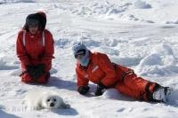 Ambassadors for animal rights and respect for animals, Heather and Paul McCartney spend time on the ice with a baby harp seal.