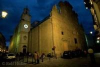 Chruch lit up at night in the old town of Gallipoli in Apulia, Italy
