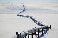 A strange track of human beings in the high arctic in Alaska is the oil pipeline which runs in zick zack patterns through the north slope.