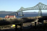 Spanning the mighty Columbia River  the Astoria Megler Bridge links Oregon and Washington in the USA.