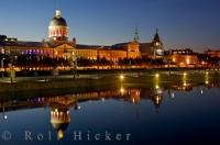 A very popular Canadian tourist attraction is the Bonsecours Market in Montreal and here it is lit up at night, as seen from the Bonsecours Basin in Old Montreal and Old Port, in Quebec, Canada. The market is open daily from 10am.