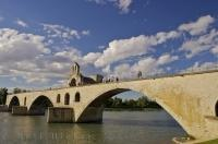 The picturesque Chapelle St Nicholas where Pont St Benezet spans the Rhone River at Avignon in Provence, France.