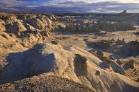 Typical scenery of Bisti Wilderness and area of arid desert badlands in the state of New Mexico, USA.
