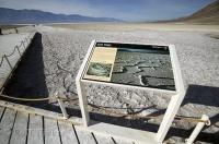 The extensive area of salt flats at the Badwater Basin in Death Valley National Park in California, USA.