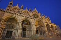 The remarkable facade of the Basilica of St Mark in the San Marco Piazza in Venice, Italy.