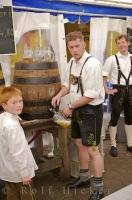 Traditional Bavarian Beer is served up at the Maibaumfest in Putzbrunn, Germany.