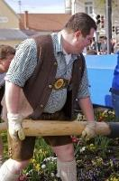 The locals of Putzbrunn wore typical Bavarian clothing during the Maibaumfest in Bavaria, Germany.