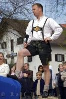 The men's traditional Bavarian Costume consists of Lederhosen accompanied by leather suspenders.