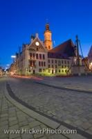 Evening in Freising, Bavaria, Germany is a perfect time to wander around the quaint cobbled streets of this old city and admire the architecture of the Rathaus in the Marienplatz.