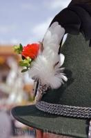 The feather on Bavarian hats is part of the decorative pin in Putzbrunn, Germany.