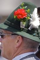 The Bavarian hats worn by the men of Putzbrunn are decorated with a flower in Southern Bavaria.