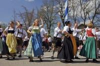 A dance of celebration during the traditional Maibaumfest in the Bavarian village of Putzbrunn, Germany.