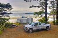 There's nothing quite like pulling up to a camp site that's right on the beach. Beachfront camping is a unique experience and one found in a couple of campsites near the town of Tofino on the West Coast of the Vancouver Island in British Columbia.