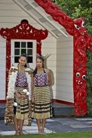 Two beautiful Maori women allowed us to take their picture outside one of the houses at the Wairakei Terraces near Taupo on the North Island of New Zealand.