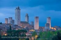 The beautiful skyline of San Gimignano in the province of Siena is dominated by fourteen towers which date back to the middle ages (11th - 13th century) - a time of great prosperity for the town which is nestled in the scenic region of Tuscany, Italy.