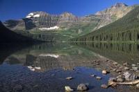 The beautiful scenery of Cameron Lake in the Waterton Lakes National Park a great vacation destination situated in Alberta.