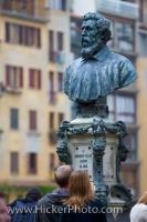 The Bust of Benvenuto Cellini, a Florentine goldsmith, has an elaborate pedestal and base which stands on the Ponte Vecchio in the historic City of Florence, Tuscany, Italy.
