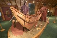 An example of a Beothuk birch bark canoe at the Interpretative Centre in Boyd's Cove, Newfoundland, Canada.