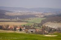 The pretty Bohemian country scenery can be seen when looking out from the Karlstein Golf Resort across to the city of Beroun in the Czech Republic.
