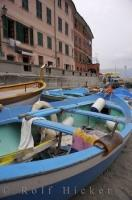 Blue boats moored in the harbour of Vernazza, one of the small villages of Cinque Terre in the Liguria region of Italy.