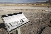 A sign along the Harmony Borax Works Interpretive Trail in Death Valley National Park, California, USA.