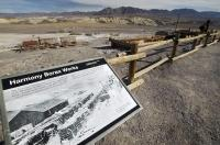 One of the signs along the interpretive trail of the Harmony Borax Works in Death Valley, California, USA.