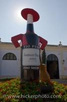 A large statue of a sherry bottle at the Gonzalez Bypass Sherry Bodega in Jerez de la Frontera in the Province of Cadiz in Andalusia, Spain in Europe.