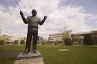 One of the many bronze statues found in Red Deer, Alberta, Canada.