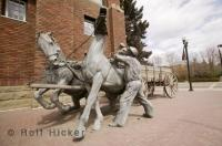 The town of Red Deer in Alberta has an array of bronze statues which depict the towns colourful history.