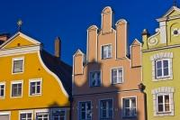 The colourful facades of the buildings in the old town district of Landshut, the capital city of Lower Bavaria, Germany are just one of the many reasons why the city is a popular destination for tourists especially those interested in architecture.