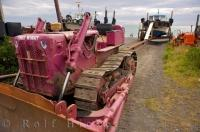 Tinky Winky the bulldozer is one of many that is used to get boats in and out of the water in Ngawi on the North Island of New Zealand.