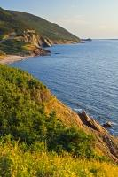 When you stand at the Veterans Monument and look towards Cheticamp Island, you get a glorious view of the Cabot Trail in Cape Breton Highlands National Park in the Gulf of St Lawrence in Cape Breton, Nova Scotia, in Canada.