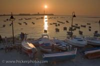 Cadiz City Andalusia Sunset Fishing Boats